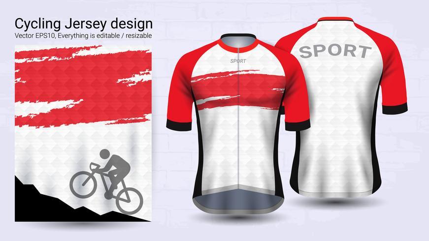 Maillots de cyclisme, modèle de maquette sport manches courtes. vecteur