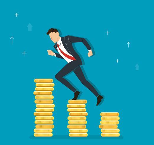 homme d'affaires en cours d'exécution sur le graphique de pièces à succès, illustration de concept d'affaires