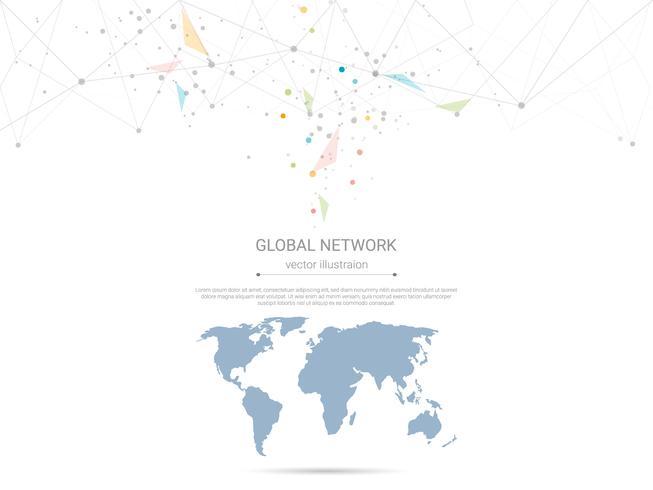 Conexão de rede global, baixo poli conectando pontos e linhas com fundo de mapa do mundo.