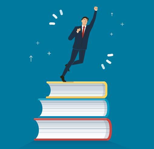 homme d'affaires prospère sur illustration vectorielle de livres icône design, concepts de l'éducation vecteur