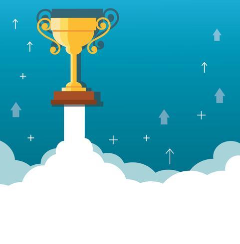 Trophée sur nuage, illustration de concept de démarrage d'entreprise vecteur
