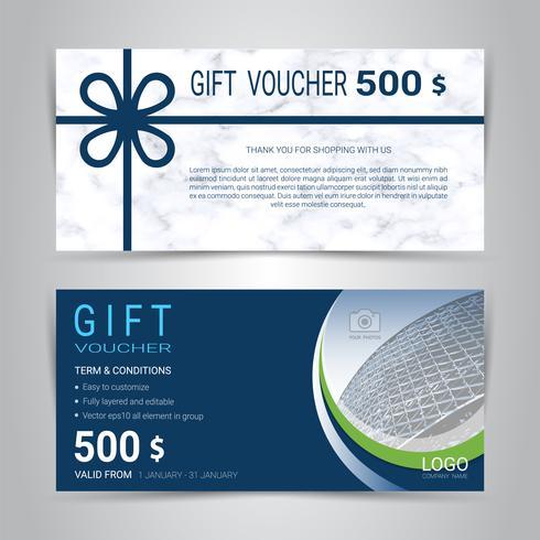 Chèques-cadeaux et bons d'achat, coupon de réduction ou modèle web bannière avec fond imitation marbre texture