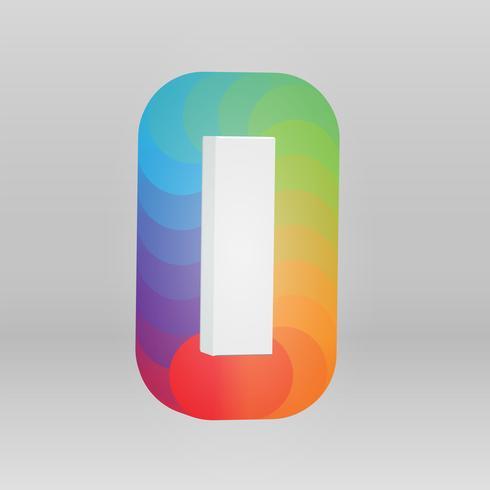 Carácter 3D de un conjunto de fuentes con colores de fondo, ilustración vectorial vector