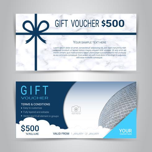 Certificados de regalo y vales, cupón de descuento o plantilla web de banner con fondo de imitación de textura de mármol. vector