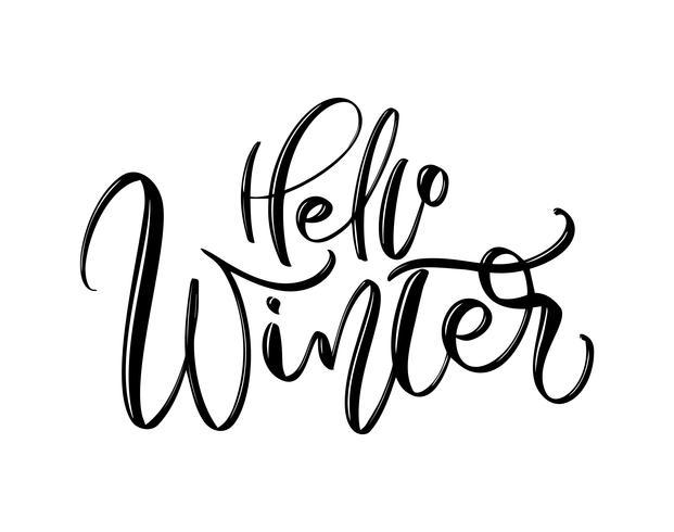 Hola invierno: texto de inscripción de letras dibujadas a mano para diseño de vacaciones de invierno, tarjeta de felicitación de celebración, ilustración de vector de caligrafía
