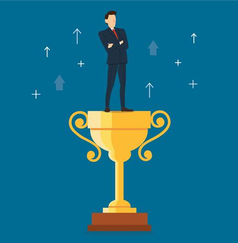 a businessman standing on the trophy vector illustration
