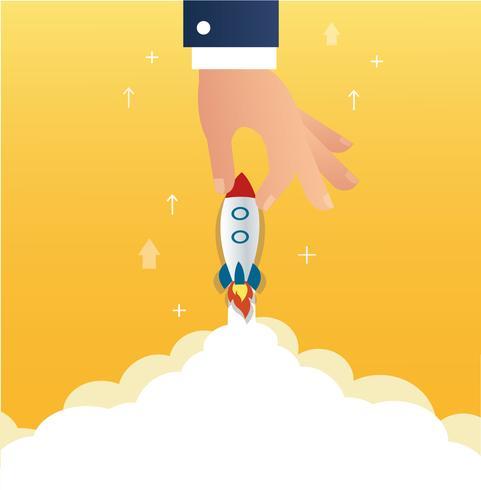 grande mão segurando um conceito de negócio de inicialização de foguete vetor