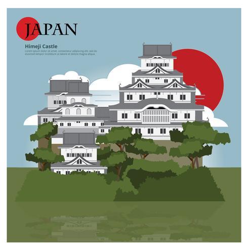 Himeji Castle Japan Landmark y viajes Atracciones Vector ilustración