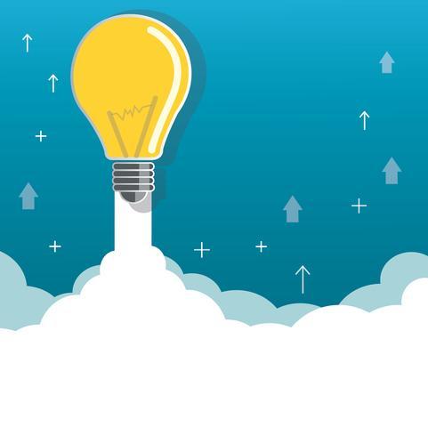lâmpada na ilustração de conceito de inicialização de nuvem