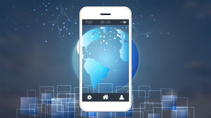 Smart phone screen showing digital circuit boards and world map background. vector