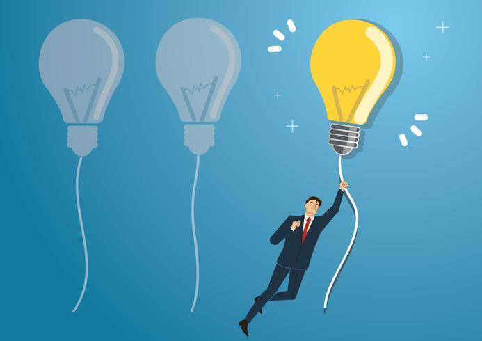 empresário segurando uma lâmpada voando no céu, conceitos criativos