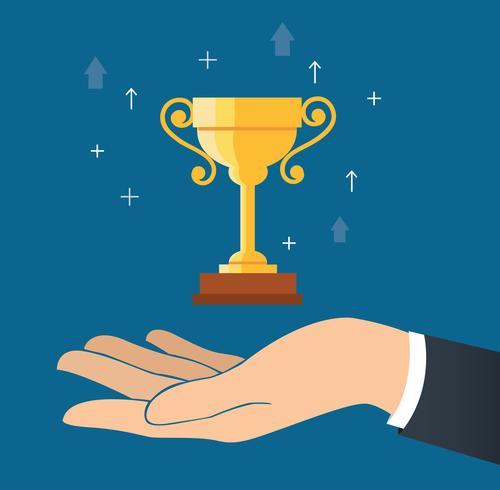 mano sosteniendo trofeo copa vector, ganando concepto