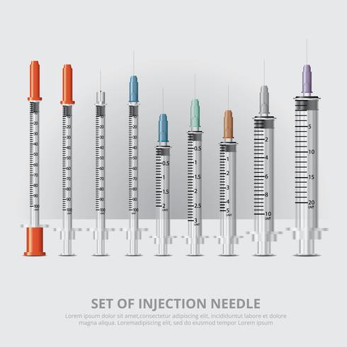 Conjunto de ilustração de vetor realista de agulha de injeção