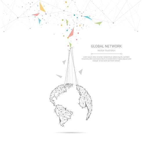 Conexão de rede global, baixo poli conectando pontos e linhas com fundo de mapa do mundo