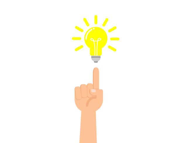 Vector l'illustrazione delle mani che indicano il dito alla lampadina - concetto di idea