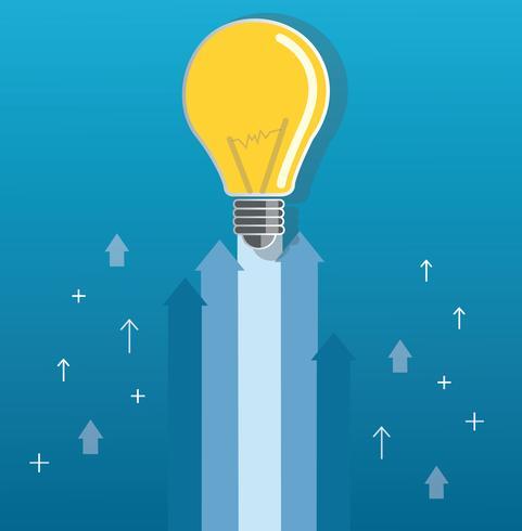 ampoule sur flèche démarrage illustration de concept vecteur