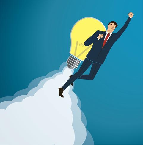 Affärsman Flyga med en glödlampa till Framgångsrik bakgrund vektor. Affärsidé illustration