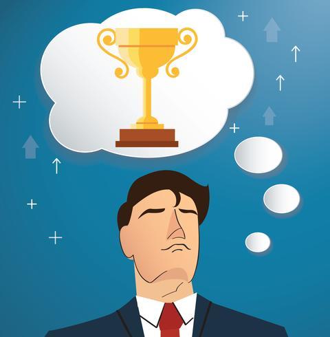 homme d'affaires pense au vecteur de trophée, illustration de concept d'affaires