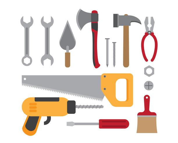 Vector illustration of construction working tools collection isolated on white background