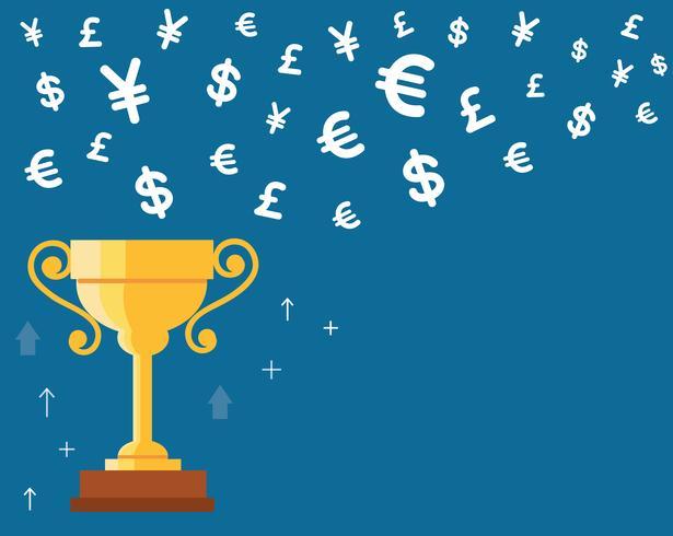trofeo de la taza con el vector icono de símbolo de dinero, ganando el concepto de dinero