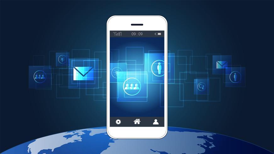 Tela esperta do telefone que mostra placas de circuito digital com fundo do ícone e do mapa do mundo.