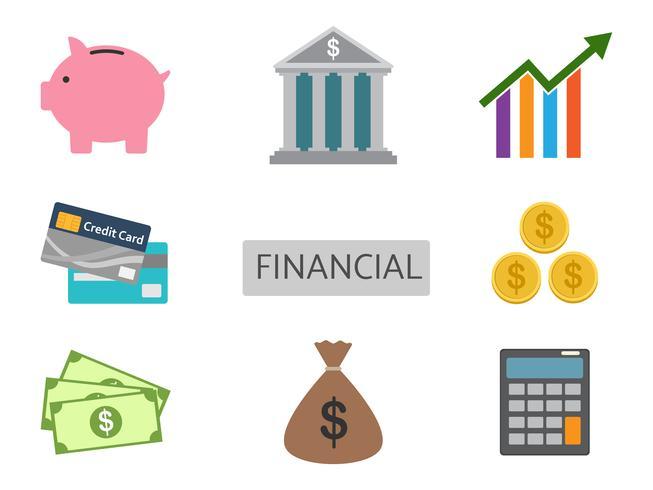 Set di vettore di finanza isolato su sfondo bianco