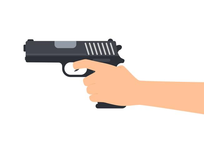 Vector illustration of hands holding gun isolated on white background