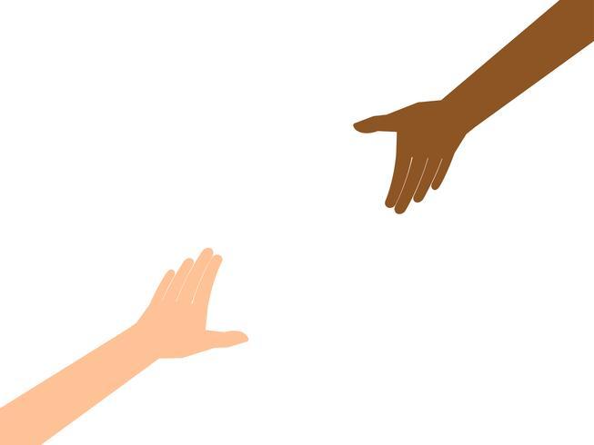 Un paio di mani che raggiungono per l'altro isolato su sfondo bianco