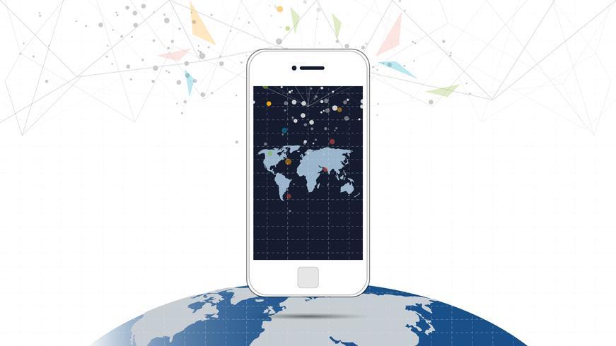 Schermo del telefono intelligente con sfondo di connessione di rete globale. vettore