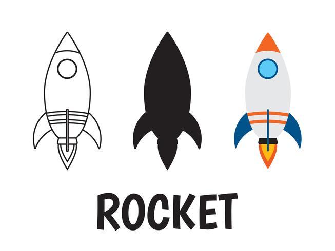 icône du logo de fusée sur fond blanc