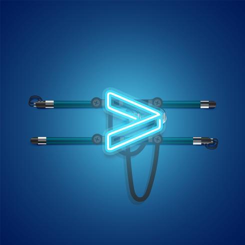 Charcter de néon azul brilhante realista, ilustração vetorial vetor