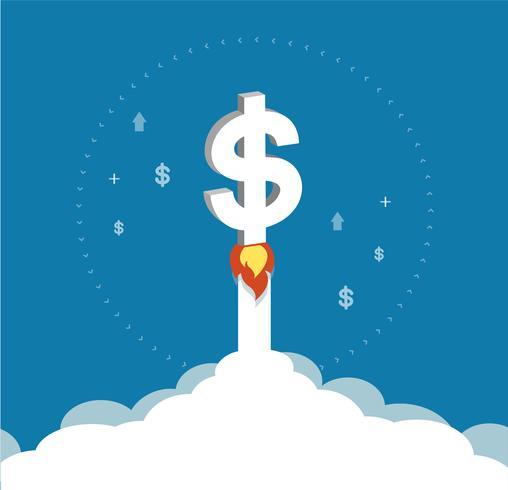 main tenant icône dollar s'élevant comme une fusée augmenter la valeur sur le symbole des marchés financiers internationaux, concept d'entreprise vecteur