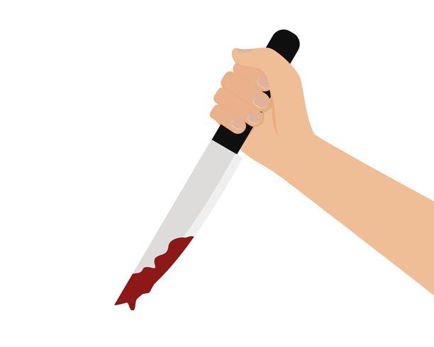 Vettore della mano che tiene un coltello sanguinante su sfondo bianco