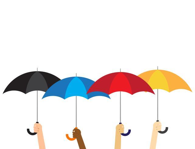 Vectorillustratiegroep handen die paraplu's houden die op witte achtergrond worden geïsoleerd