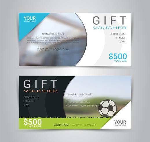 Tarjeta de bono de regalo o plantilla web banner con fondo borroso.
