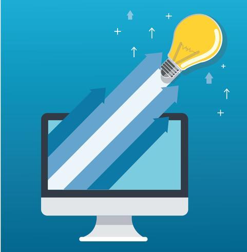 gloeilamp op pijl uit de computer, opstarten, creatief idee concept illustratie