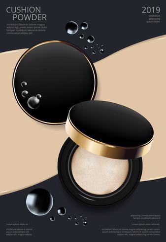 Make-up-Puder-Kissen-Plakat-Schablonen-Vektor-Illustration