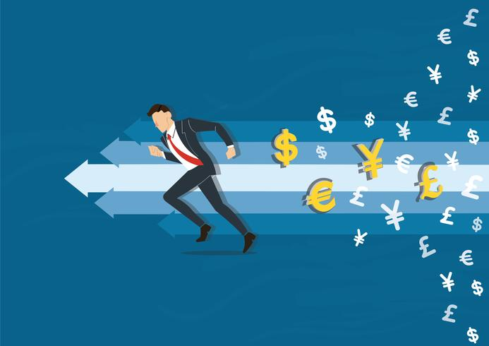 businessman running to success vector illustration with money symbol icon background, business concept illustration