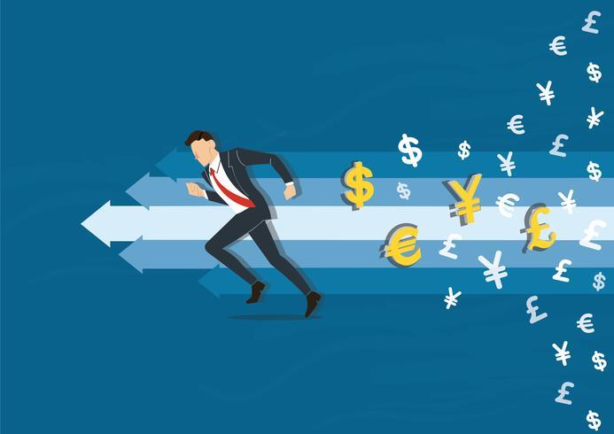 Geschäftsmann, der zur Erfolgsvektorillustration mit Geldsymbol-Ikonenhintergrund, Geschäftskonzeptillustration läuft