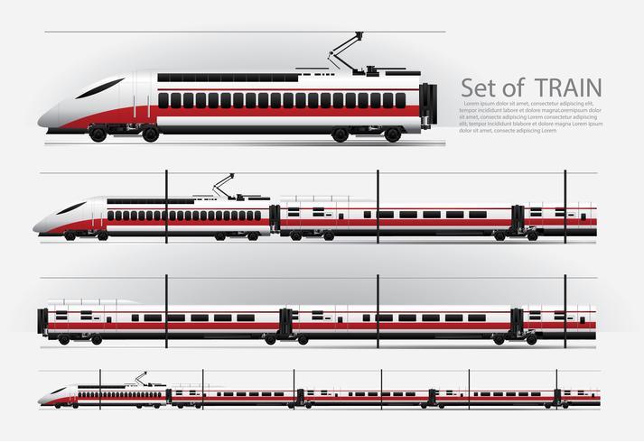 Höghastighetståg på en järnvägsväg Vektor illustration
