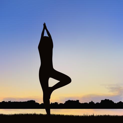Lady siluettbild i Yoga hållning.