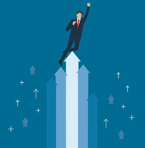 un homme d'affaires célèbre sur le vecteur d'icône flèche, illustration de concept de business