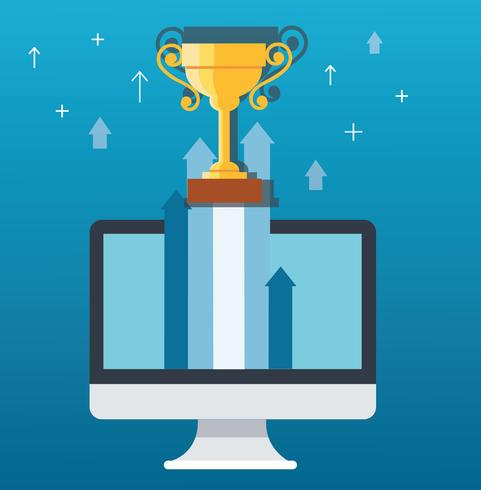 Il trofeo sull'icona della freccia dal computer, inizia sull'illustrazione di concetto di affari vettore