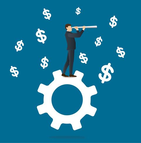 businessman looks through a telescope standing on gear icon and dollar icon background