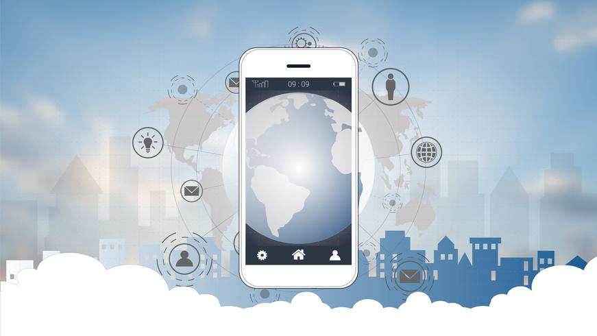 Smart phone screen with Global network connection background. vector