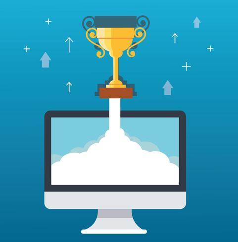 Il trofeo su nuvola, inizia sull'illustrazione di concetto di affari vettore