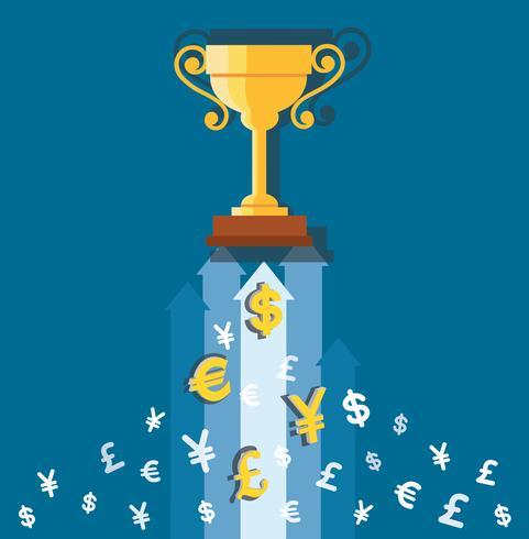 il trofeo sulle icone dei soldi, illustrazione di concetto di affari
