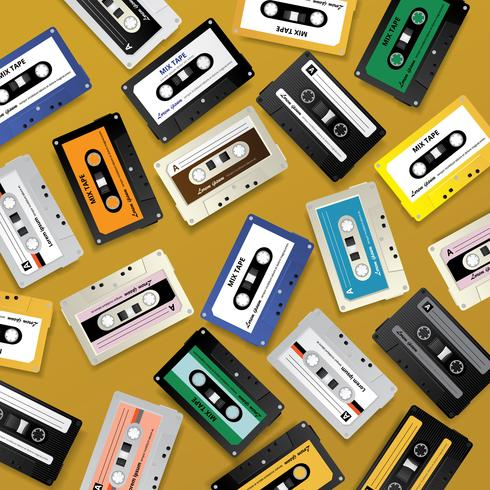 Vintage Retro Cassette Tape Pattern Design Mall Vektor Illustration