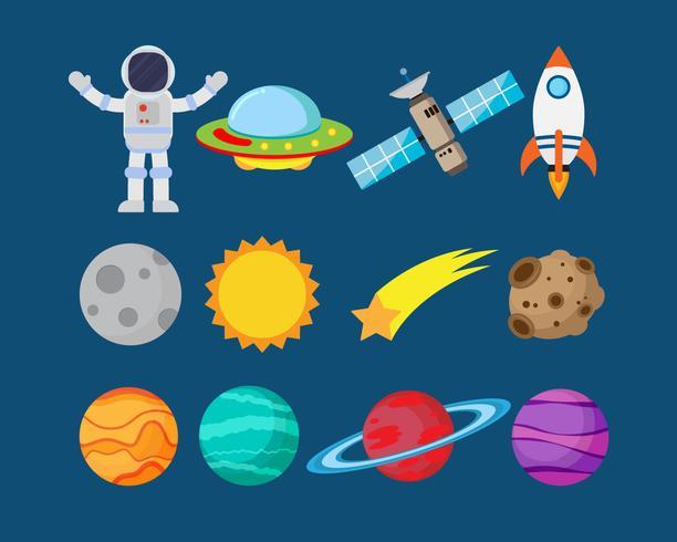 Verzameling van astronauten in de ruimte en planeet vector set - vectorillustratie