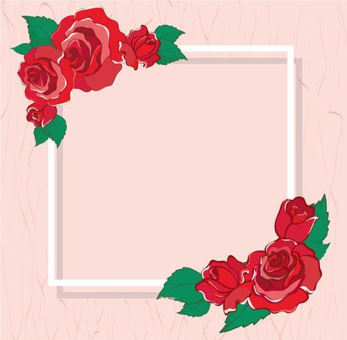 Valentinstag Grußkarte mit roten Rosen Hintergrund Vektor-Illustration